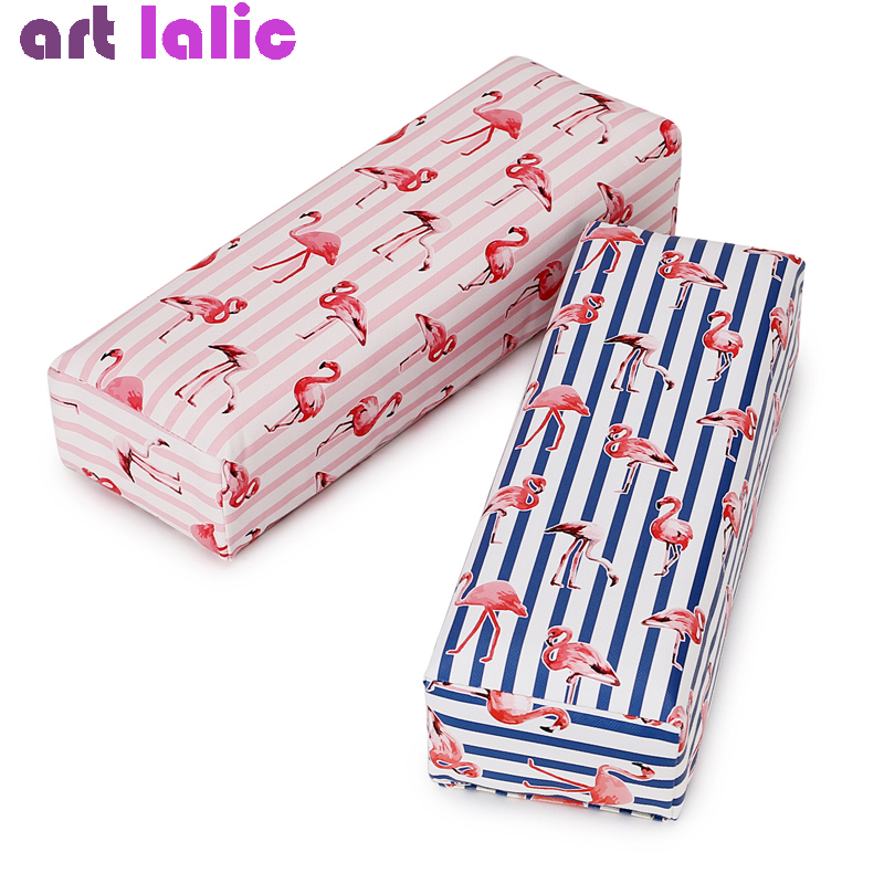 Nail Art Hand Pillow Cushion Nail Polish Holder Soft PU Leather Sponge Arm Rest Stripe Flamingo Design Salon Manicure