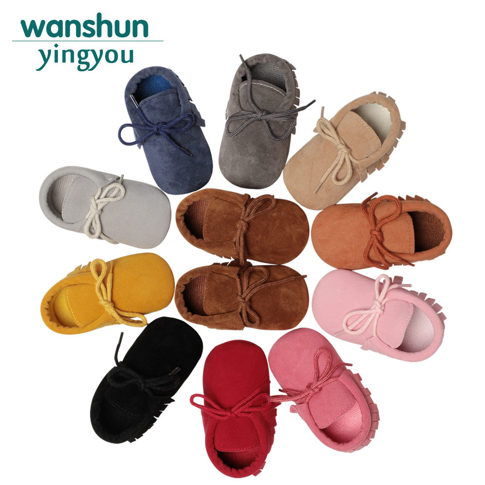 Boy Girl Soft Moccs Fringe Soft Soled Non-slip Footwear Shoes PU Suede Leather Newborn Baby Moccasins QF Bebes