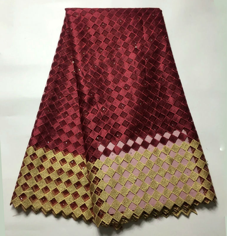 New Arrivals African Tulle Lace Fabric For Sewing White Wine Red Lace Fabric Swiss Voile Lace