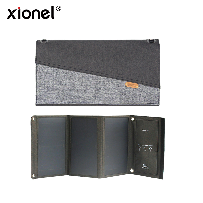 Xionel 21W Folding Solar Panel Phone Charger Sunpower Solar Panel With USB Port for for iPhone, iPad,Samsung All 5V USB Devices