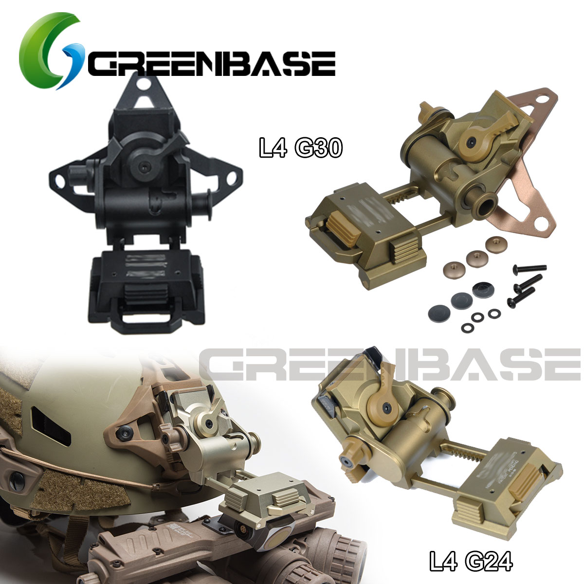 Clear Inventory Aluminum L4 G24 G30 Helmet Mount NVG Night Vision Fast OPS Helmet Parts NVG