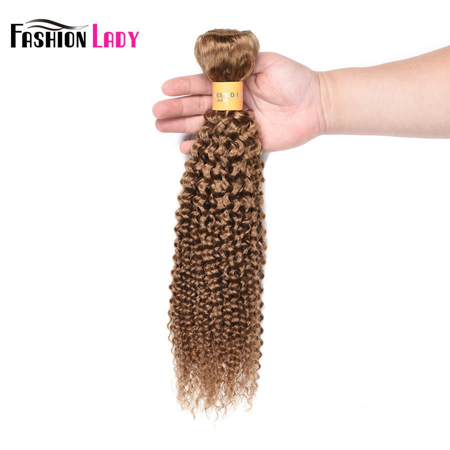 Fashion Lady Pre-colored Blonde Brazilian Hair bundles Color 27 Human Hair Extensions Kinky Curly Hair 1 Piece Non-remy