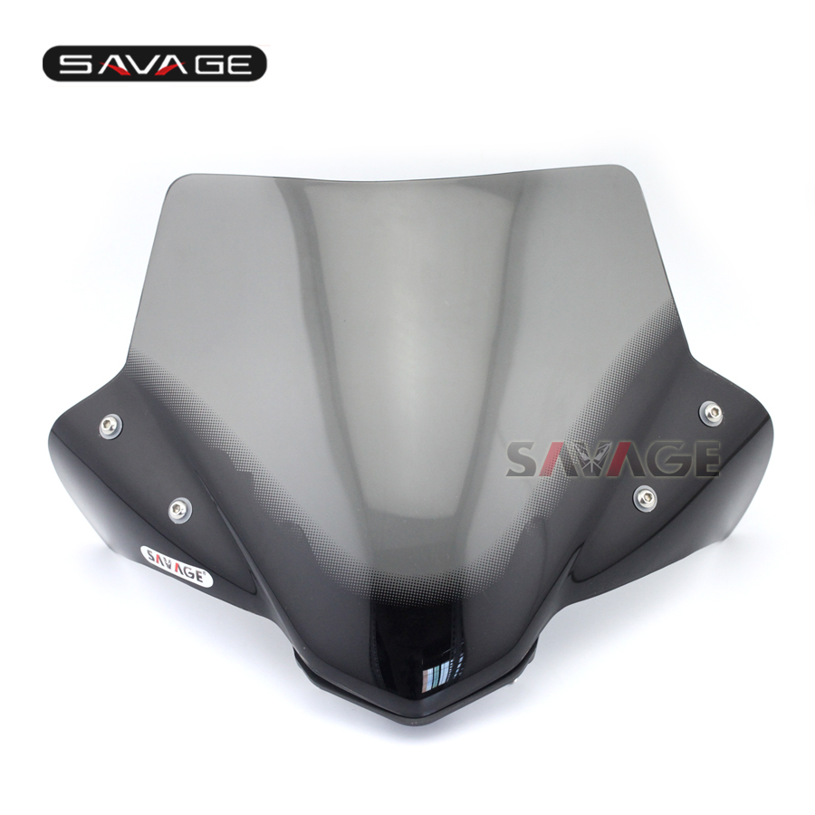 NEW Motorcycle Windshield Windscreen Pare-brise Smoke For YAMAHA MT-07 MT07 FZ-07 2014 2015 2016 for honda suzuki yamaha motorcycle universal windshield windscreen pare brise suits 7 round headlights