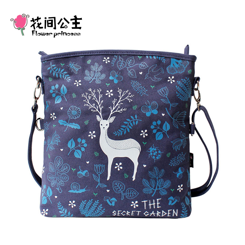 Flower Princess Women Shoulder Bags Ladies Fold Over Roomy Messenger Crossbody Bags Female Cartoon Pattern Handbag bolsas sac