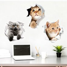 Urijk 3D Cartoon Wall Sticker Cute Cat Dog Waterproof Refreigter Poster Removable Stickers Toilet Kitchen Room Home Decor(China)