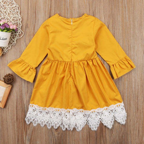 Pricess Kids Baby Girls Lace Party Dress Flare Long Sleeve Wedding Cotton Dress Vestidos Children Clothing Sundress 6M-4T