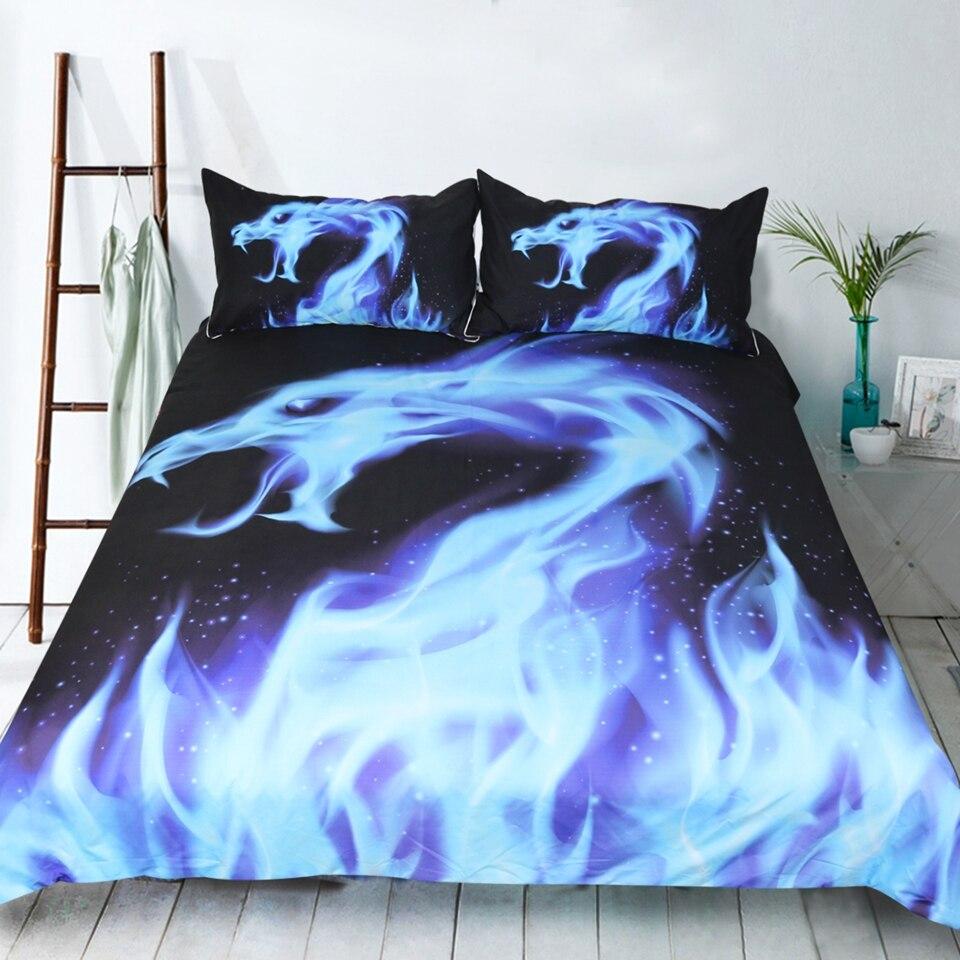 LISM bleu flamme ensemble de literie reine taille noir fond ensemble de lit pour dragon de feu imprimer housse de couette maison literie 3 pièces
