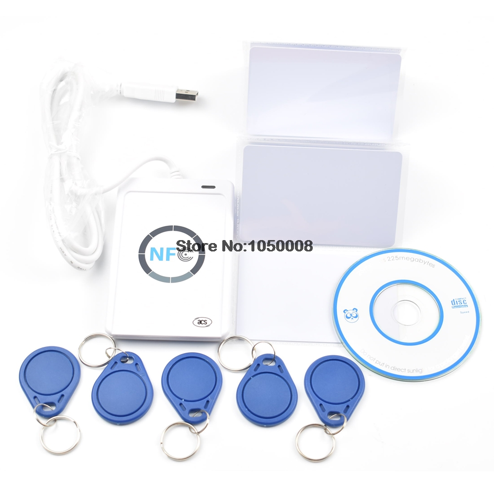 USB ACR122U-A9 NFC Reader Writer Duplicator RFID Smart Card + 5pcs UID Changeable Cards + 5pcs UID Keyfob +1 SDK CD