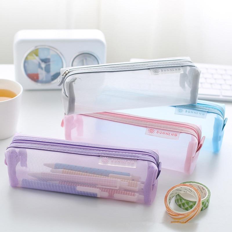 Grid Pencil Case Transparent Estuche Escolar Kawaii School Supplies Estojo Escola Kalem Kutusu Material Escolar Pencilcase
