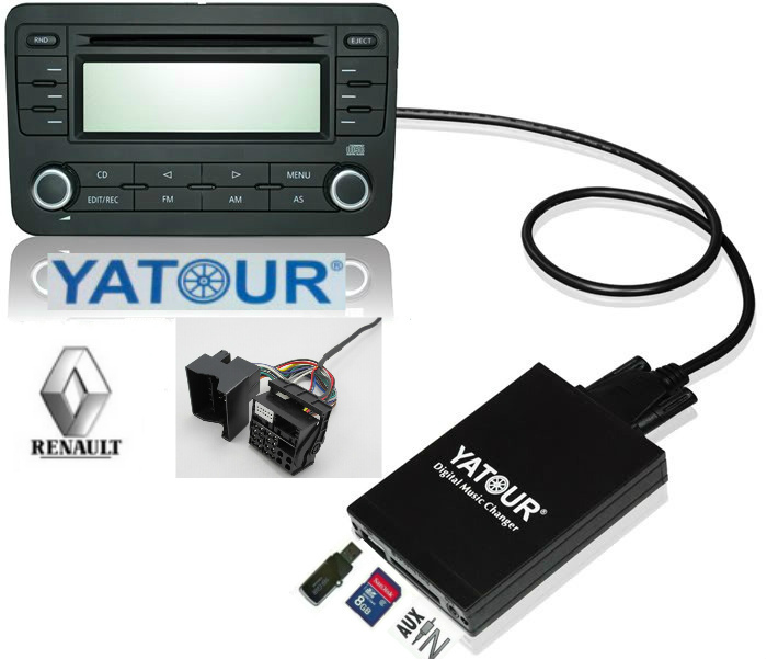 ФОТО Yatour Digital CD changer (USB SD AUX Bluetooth interface)  for Renault VDO/Blaupunkt quadlock 12pin fakra 2009+ MP3 Adapter