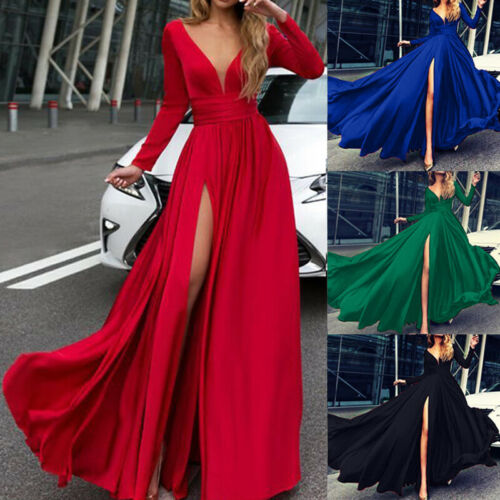 Summer Autumn Women Full Sleeve V-neck Maxi Split Dress Evening Party Elegant Dresses Empire Waist Sundress Female Vestido