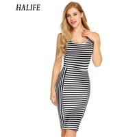 HALIFE Personality Printed Wrapped In Hip Midi Women S Striped Dress Summer Fashion O Neck Sleeveless