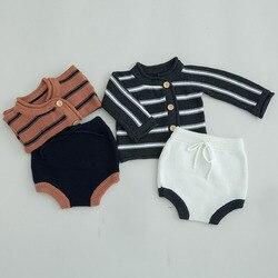 Комплект одежды для мальчиков и девочек, кардиган в горизонтальную полоску + шорты, весна-осень 2019