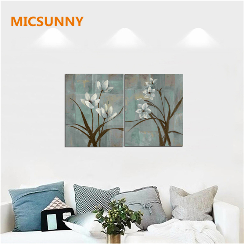 MICSUNNY No Poster Frame Orchid Flowers Home Art Decor Blue Painting For Living Room Wall Vinage Artwork Picture Canvas Prints
