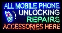 2017 Hot Sale 15.5X27.5 indoor Ultra Bright flashing repairs all mobile phone unlocking accessories business shop sign of led
