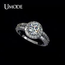 UMODE Halo обручальное кольцо с высшего класса 2ct AAA CZ обручальные кольца ювелирные изделия для женщин Bijoux рождественские подарки AUR0021