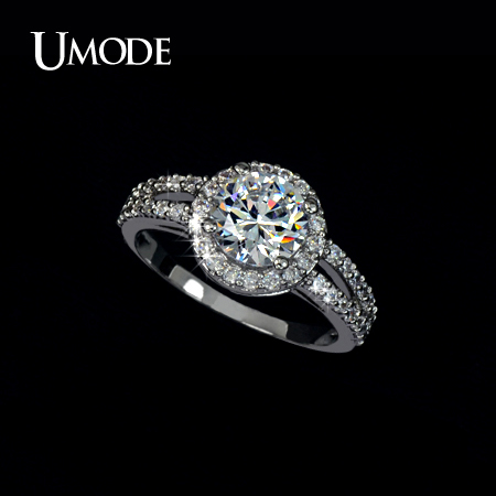 UMODE Halo Engagement Ring With Top Grade 2ct AAA CZ Wedding Rings Jewelry For Women Bijoux Christmas Gifts AUR0021