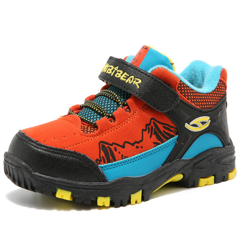 Boys Shoes Kids Hiking Boots Warm Fur Linling Breathable Waterproof  Boys Trainers Outdoor Shoes 2016 kelme football boots broken nail kids skid wearable shoes breathable