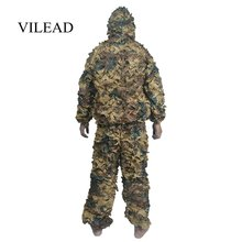 цена на VILEAD 3D Bionic Ghillie Suit Light Weight 700g Camouflage Hunting Clothes Army Jungle Military Sniper Jungle Tactical Uniform