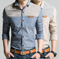 Mens Dress Shirts 2016 Fashion Patchwork Long Sleeve Korean Slim Fit Oxford Shirt Men Plus Size Chemise Homme Camisa Corinthians