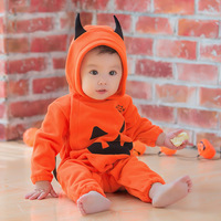 Newborn Baby Girl Boy Funny Romper Orange Pumpkin Halloween Toddler Infant Jumpsuit Outfit Long Sleeve Coverall