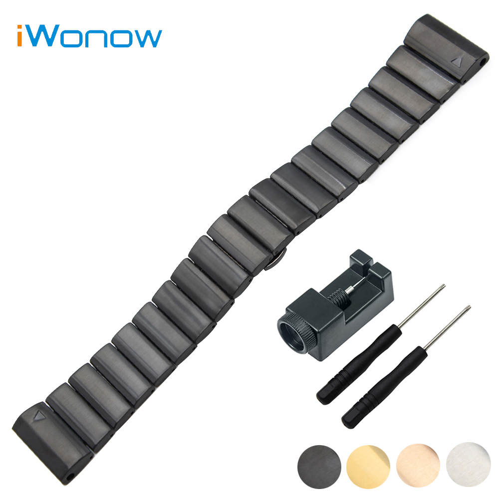 Stainless Steel Watch Band 26mm for Garmin Fenix 3 / HR / 5X Butterfly Buckle Strap Wrist Bracelet Black Silver + Link Remover canvas nylon watchband tool for garmin fenix 5 forerunner 935 fr935 leather watch band sports strap steel buckle bracelet
