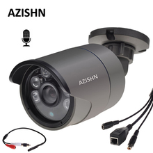 AZISHN ONVIF Wired Audio IP Camera 720P/960P/1080P H.264 Network P2P Microphone Pick up metal IP66 bullet security CCTV Camera