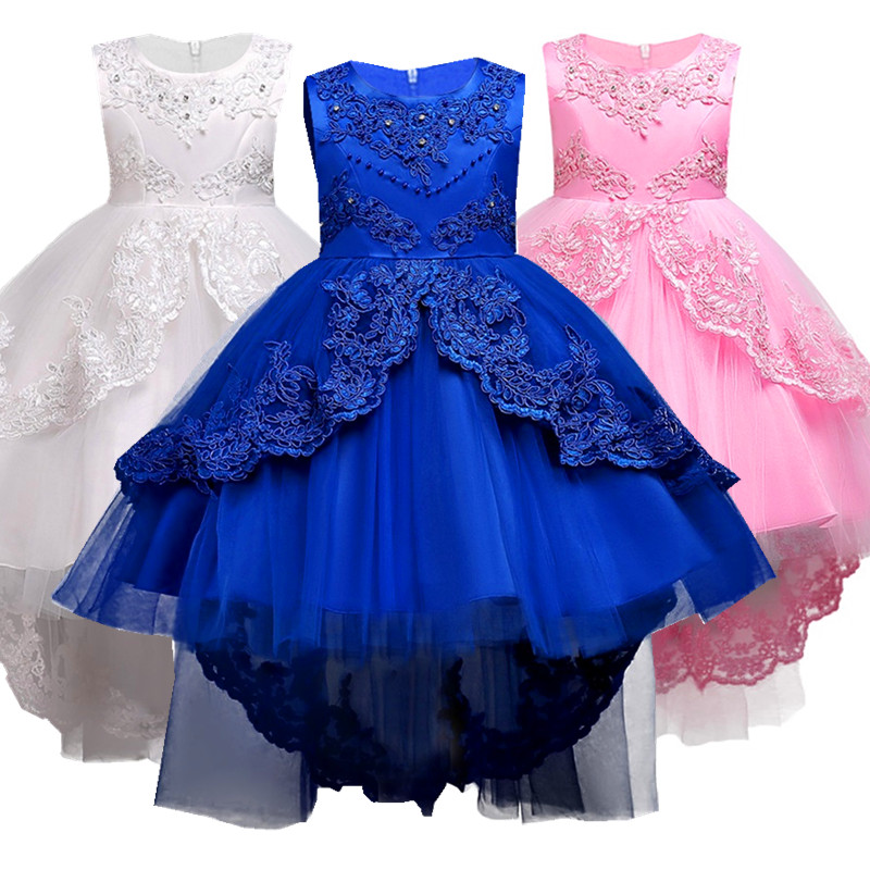 3-14 Years Girls Summer Flower Lace Wedding Pageant Party Dresses Princess Formal Prom Gowns 2018 Christmas Kid Girl Clothes цена