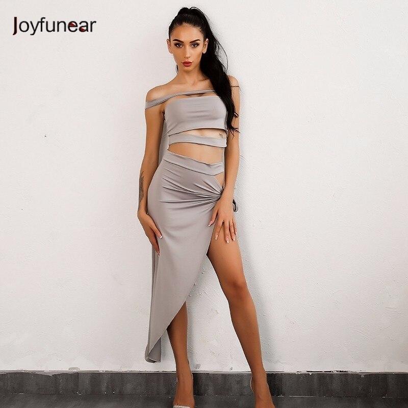 Joyfunear Irregular Split Halter Dress Solid Sexy Strapless Nightclub Wear Dresses Fashion Lady Vintage Clothes Hot