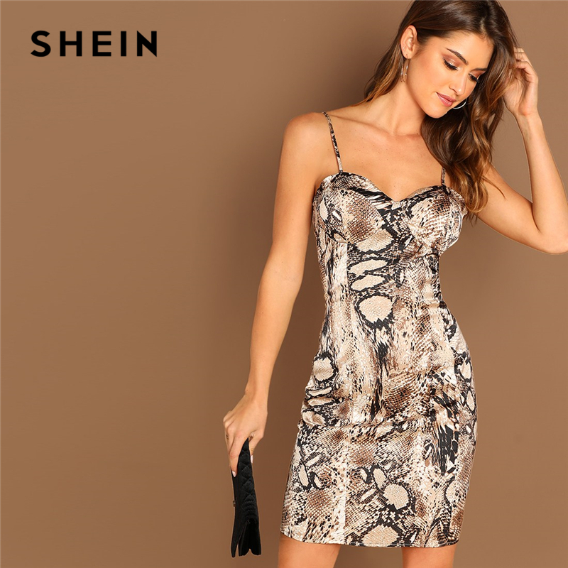 bf79cbc432fb SHEIN Multicolor Sexy Party Snake Skin Print Cami Bodycon Sleeveless Dress  Summer Club Elegant Night Out