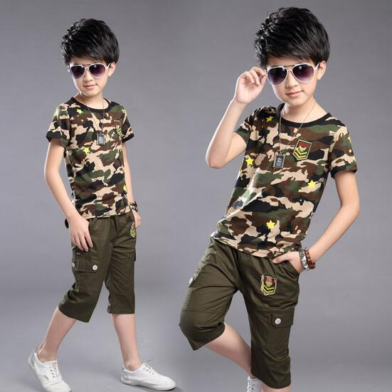 b5141b761 Boys Sets 2017 Personalized Boy Military Style Camouflage Pants Suit  Short-Sleeved Shirt Big Virgin Summer O-Neck Clothes 4-16T