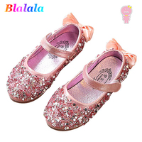 Spring Summer faux diamond sequin bowknot baby girls dough kid fashion loafer shoes Children pu Sneaker light up shoes
