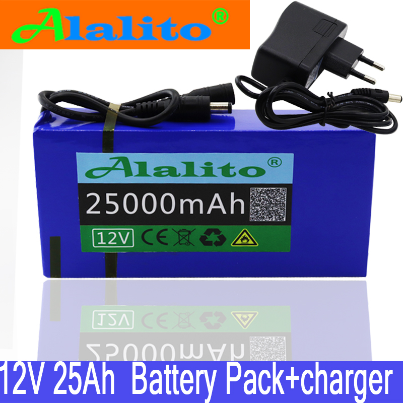 High Quality Super Rechargeable Portable 12v 25Ah Lithium Ion Battery Pack DC 12.6V 25000mAh Battery With US EU Plug