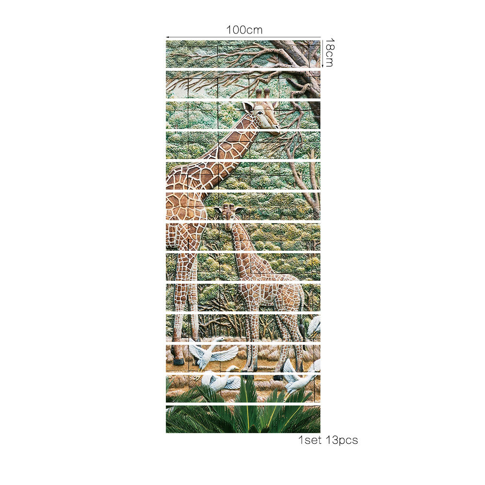 13 Pieces Set Creative Diy 3d Stairway Stickers Giraffe Ceramic
