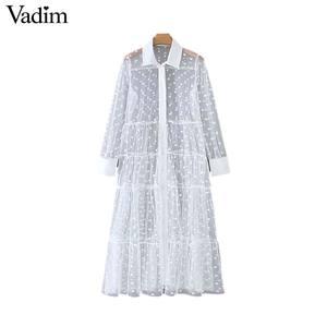 Image 2 - Vadim women stylish polka dot patchwork transparent midi shirt dress long sleeve female chic sexy mesh dresses vestidos QB670
