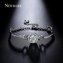 NEWBARK Bracelet Charms Bracelet Femme Fantaisie Luxury Hearts & Arrows 3.5 carat CZ Bangles Around Chain & Link Bracciali Donna