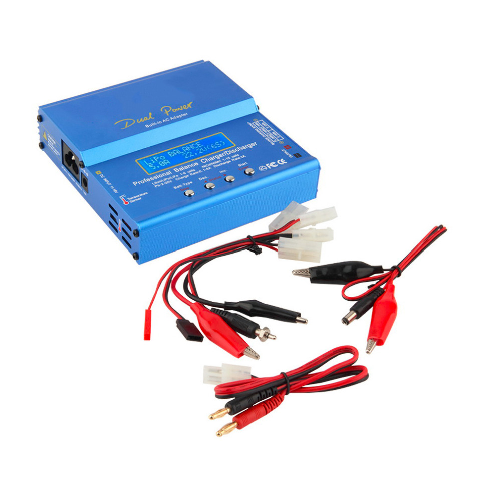 OCDAY iMAX B6 AC B6AC Lipo NiMH 3S/4S/5S RC Battery Balance Charger + EU/US/UK/AU plug power supply wire New Sale 1pcs 2s 3s 4s 5s 6s balance charger cable lipo battery balance charger cable for imax b3 b6 connector plug wire