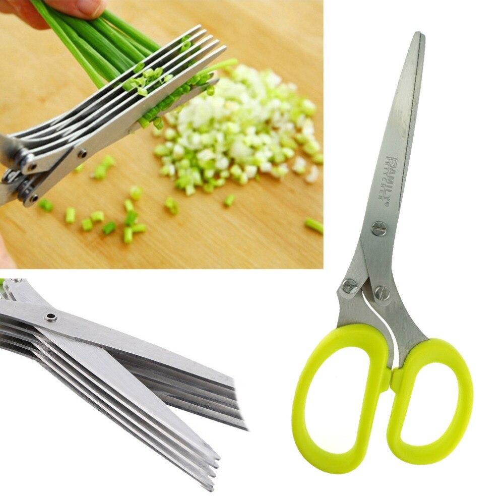 Multifunkční vícevrstvá koření Nůžky z nerezové oceli Zelená kuchyňská linka Kancelářské nůžky na skartování papíru, 19,2x7,7cm, 1PC