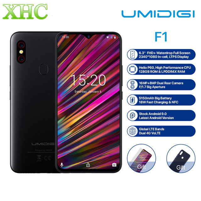 UMIDIGI F1 6.3'' FHD+ Android 9.0 Mobile Phone 4GB 128GB Helio P60 Octa Core Fingerprint Unlock NFC FCC Dual SIM 16MP Smartphone