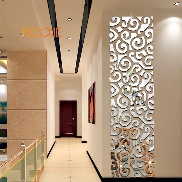 KEDODE Rectangulaire 3D cristal décoration miroir mural nuages de