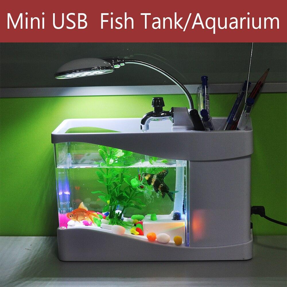 blackwhite digital fish tank aquarium with led light usb desktop fish office desk aquarium