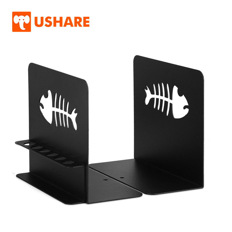 USHARE Metal Bookends Support For Books Black Decoration Book Holder Book Accessories School Book Shelf Organizer For Kids