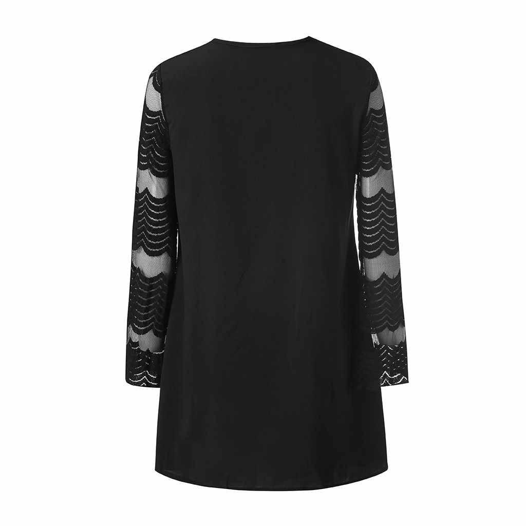 Женское однотонное платье с круглым вырезом и полосками в сеточку, короткое свободное платье abiye gece elbisesi 2019 # M6Y5