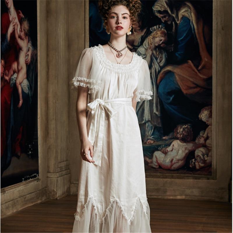 Luxurious Lace Palace Wind Nightgowns Female Summer Thin Pure Cotton Nightdress Princess Woman Sleepwear HS3054