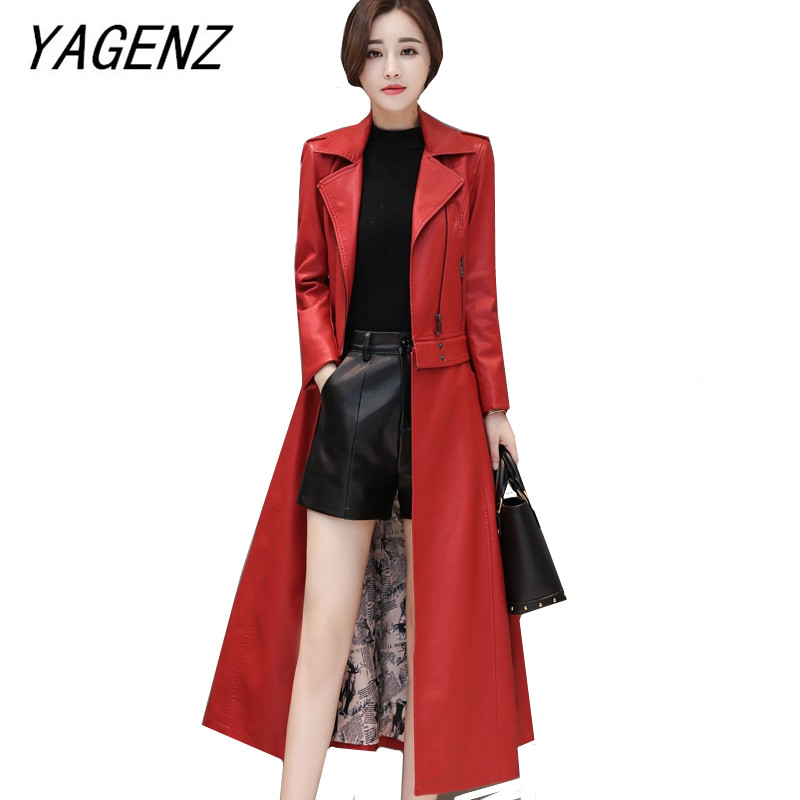 autumn winter Women PU   leather   windbreaker coat fashion slim detachable long coat large size Faux   leather   jacket black red 4XL