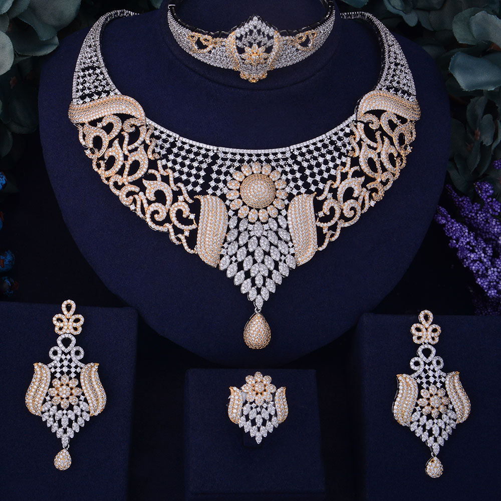 GODKI Luxury SunFlower Boom Women Nigerian Wedding Naija Bride Cubic Zircon Necklace Dubai 4PCS Jewelry Set
