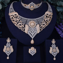 GODKI Luxury SunFlower Boom Women Nigerian Wedding Naija Bride Cubic Zircon Necklace Dubai 4PCS Jewelry Set Jewellery Addiction(China)
