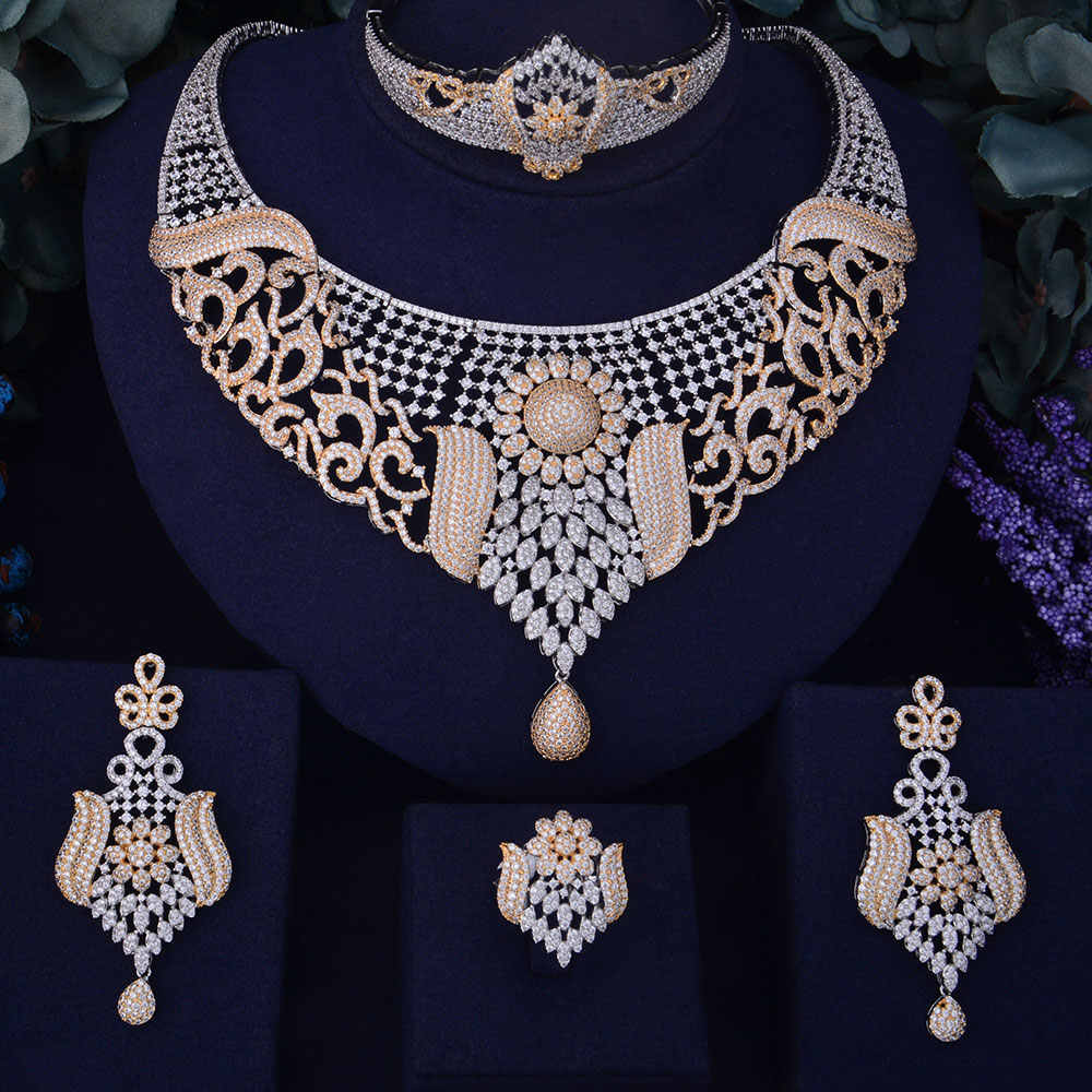 GODKI Luxury SunFlower Boom Women Nigerian Wedding Naija Bride Cubic Zircon Necklace Dubai 4PCS Jewelry Set Jewellery Addiction