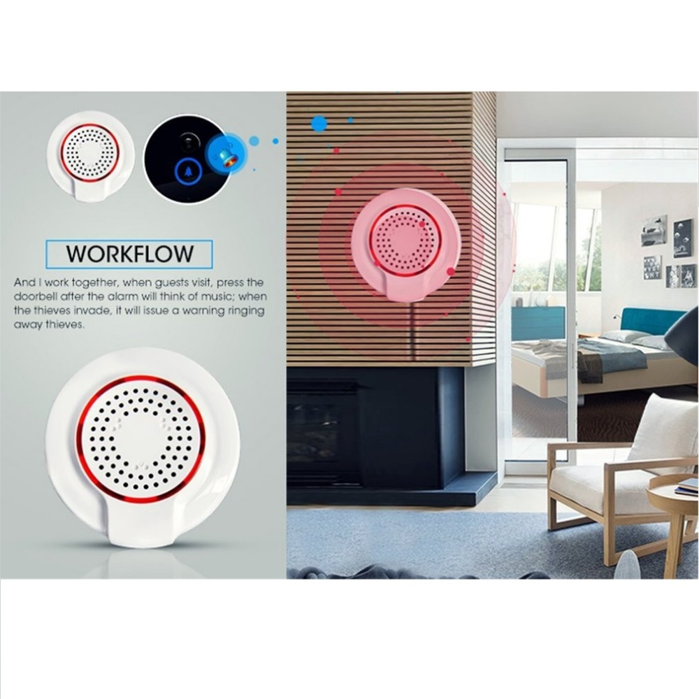 Audible & Visual Alarm Sensor Remote Notication Control Z-wave Security Wireless Alarm Siren Sensor Home Automation Smart Alarm