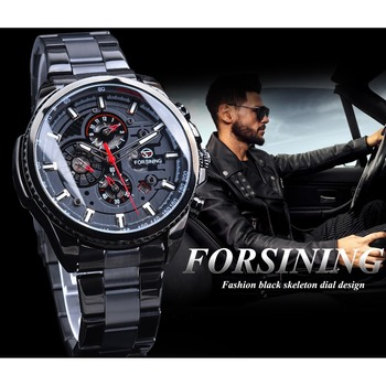 Forsining Three Dial Calendar Stainless Steel Men Mechanical Automatic Wrist Watches Top Brand Luxury Military Sport Male Clock 3